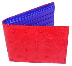 Men's Ostrich Leather Bi-Fold Wallet w/ ID Holder, Red w/ Navy Blue Leather Intierior