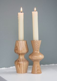 Rustic Romance Candlestick Set. Add earthy appeal to your next dinner with these wooden candle holders from Kikkerland! #tan #modcloth