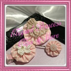 Pastel Pink and Beige Polka Dot Yoyo Hair Clips and Bobby Pin Set (Round and Heart Shapes) with Button, Satin Flower and Gem Bling Embellishments | Elegant Princess Clips N More