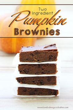 This Pumpkin Brownies recipe is so simple and perfect for Fall! With only 2 ingredients and about 30 minutes, you can have a delicious chocolaty treat! #pumpkin #brownies #fallbaking