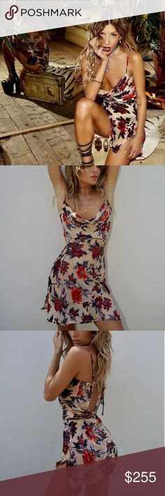Rat & Boa Cerretti dress NWT Rat & Boa Cerretti Dress size medium, could also fit a small so listed as that as well but am selling a MEDIUM  Completely sold out and absolutely BEAUTIFUL! Deep red and burnt orange floral. Very sultry. Sheer, best with nude, black, or red under garments. Ties around middle to cinch the waist in. Adjustable straps. Cowl neckline.   !! Tiny microscopic snag, can't see it at all but wanted to disclose, see pic  Tags: ceretti, cerreti, rat and boa, mesh, silk…