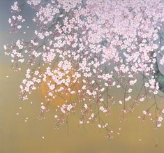 © Rieko Morita, Sakura Moon Night, All rights reserved. Japanese Art Styles, Japanese Prints, Sakura Cherry Blossom, Cherry Blossoms, Great Works Of Art, Bright Flowers, Japanese Painting, Traditional Paintings, Japan Art