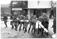 German soldiers break the Polish border post. September 1, 1939