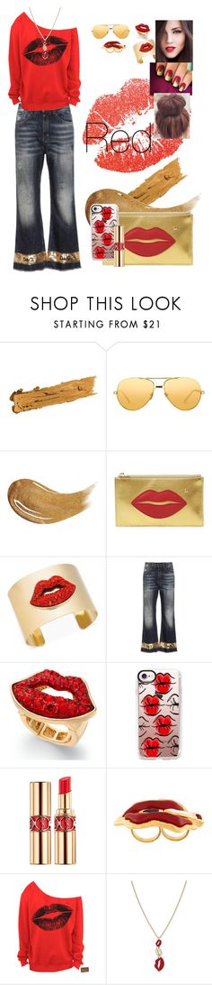 """""""Untitled #88"""" by tanya-gosnell-brewer ❤ liked on Polyvore featuring By Terry, Too Faced Cosmetics, Charlotte Olympia, Thalia Sodi, Dolce&Gabbana, Casetify, Yves Saint Laurent, Dsquared2, denimtrend and widelegjeans"""