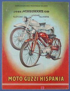 FOLLETO PUBLICITARIO MOTO GUZZI HISPANIA. MODELO 65 Y MODELO Z. JOSE MINGORANZ CID. TALAVERA, S/F. (Coches y Motocicletas Antiguas y Clásicas - Catálogos, Publicidad y Libros de mecánica) Vespa Motorcycle, Moto Guzzi Motorcycles, Motorcycle Posters, Car Posters, Vintage Motorcycles, Scrambler, Vintage Advertisements, Vintage Ads, Vintage Posters