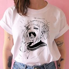 Cute Easy Outfits For School, Simple Outfits, Cool Outfits, Fashion Outfits, Anime Inspired Outfits, Anime Outfits, Tumblr T Shirt, Himiko Toga, School Fashion