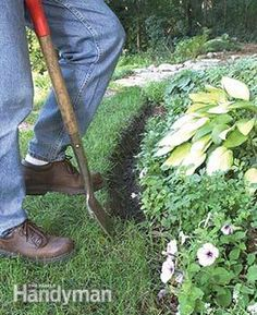 """Digging a 4-6"""" trench and fill it with mulch for a natural edging."""