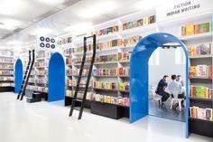 New Delhi Bookstore Goes For 'Illuminated Geometric Cavern' #bookshelfporn #bookshelves #books