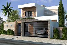 Plano de casa con techo integrado