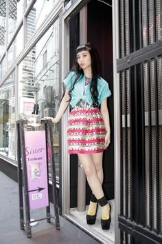 tied button down & mini skirt