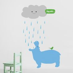 Create a magical jungle scene in your kids' and nursery rooms with this lovely vinyl wall stickers set featuring a cloud watering a cute light Blue hippo. it comes in 3 sheets and you can apply it in the order you wish on your wall.$64.95