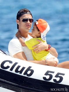 Portugal soccer player Cristiano Ronaldo, son Cristiano Junior and supermodel girlfriend Irina Shayk spend their vacation soaking up the sun on a yacht in Saint-Tropez, France.