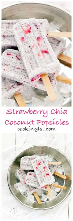 Strawberry Chia Coconut Popsicles - made with coconut milk, chia seeds and fresh strawberries. Coconut Popsicles, Healthy Popsicles, Yogurt Popsicles, Coconut Smoothie, Weight Watcher Desserts, Frozen Desserts, Frozen Treats, Low Carb Dessert, Healthy Sweets