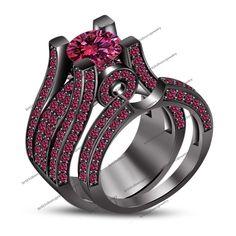 14K Black Gold Finish Round Cut Sapphire Engagement Ring & Wedding Bridal Set #br925silverczjewelry