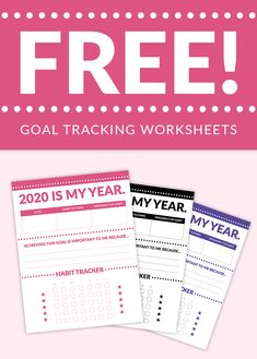 Turn your New Year's resolutions into habits that stick with these free goal tracking worksheets. If you're ready to seriously improve your life in 2020, these are just what you need to hold yourself accountable and track progress toward your goals. These worksheets will also help you organize your goals and form concrete plans to achieve them. There are 5 colors in the bundle, including black and white. Download these worksheets now so you can slay your goals in 2020!