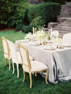 Elegant vintage-inspired tablescape for a garden wedding. #grey #linen #wedding