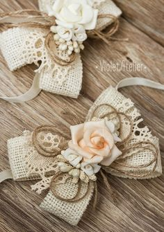 2 Burlap Bridesmaid Wrist Corsages Rose Color Choices Rustic
