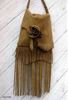Boho Rose Leather Fringe Bag