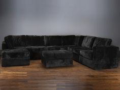 Living Room couch / Seven Cushion Chaise Sectional with Blackbear Phur Covers