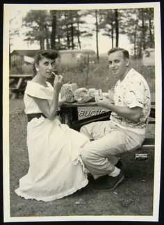1953 Pretty Lady Handsome Man Roadside Lunch Picnic Road Trip Photo Snapshot | eBay