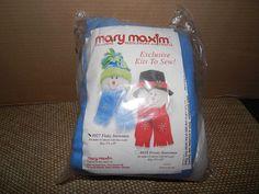 Mary Maxim needle work crafts  snowman nip scarf hat kit complete #MaryMaxim