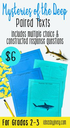 Use these differentiated paired passages with your students to integrate high-interest, engaging informational passages! I have included informational passages about mysteries of the deep: Loch Ness and Megalodon; giant squid, lion's mane jellyfish, anglerfish; and mermaids. There is also an excerpt from The Little Mermaid by Hans Christian Andersen to pair with the informational text about mermaids. #pairedtexts #readingactivities #secondgrade #thirdgrade