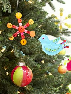 christmas ornaments...bird and buttons