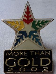 OLYMPIC GAMES PIN More Than Gold Salt Lake 2002 Olympics White Star Hat Badge