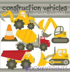 Construction Vehicles Clipart - digger, bulldozer, cement truck, traffic cone.