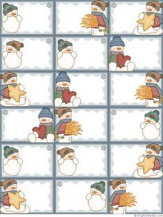 etiquetas bonitas con muñeco de nieve snowman labels