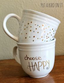 Decorate plain coffee mugs with a Sharpie and bake them. Easy tutorial