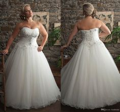 2015 KISSBRIDAL Plus Size Wedding Dress Strapless Lace-up Pleated Beaded A-Line Court Train Ivory Organza Bridal Gowns, $143.57 | DHgate.com