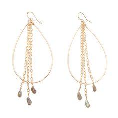 'rabiah' hoop earrings with labradorite drops