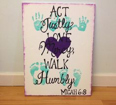 Act justly, love mercy, walk humbly canvas. Grandparent gift