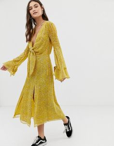 7cb4a677cb9d The East Order Ry knot front midi dress | ASOS Fashion Online, How To Wear