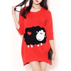 Cute Scoop Collar 3/4 Sleeve Cartoon Pattern Women's Dress