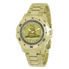 "Ewatchfactory Men's 56255E ""Don't Tread On Me"" Goldtone Bracelet Watch eWatchFactory. $30.93. Water-resistant to 33 feet (10 M). Stainless steel case back; 1-year limited warranty. Features the ""Don't Tread On Me"" artwork on the dial. Goldtone bracelet. Unidirectional rotating bezel"