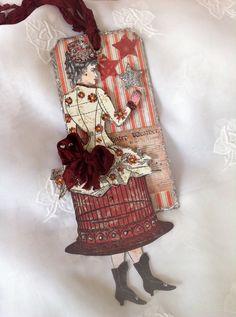 Merry Christmas Christmas Art Tag Ornament  Paper by ParisPluie, $10.00