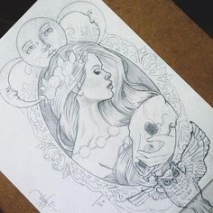 Concept sketch for a commissioned tattoo design ☪ -Wendy Ortiz