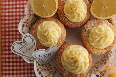Lemon cupcakes with lemon curd filling and cream cheese icing