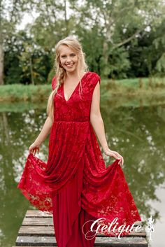 Long red lace bridesmaids dress. Elizabeth bridesmaids dress from Gelique available at Brides of Somerset. Lace long dress. Formalwear. Occasion dress.