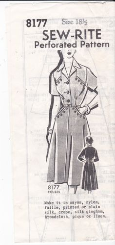 Vintage Sewing Pattern Mail Order Sew-Rite 8177 UNPRINTED Pattern Top and Skirt 1950's Pattern Shirt with Button Detail Bust Size 37 by Ziatacraft on Etsy