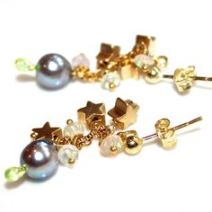 Grey Pearl Earrings Ethiopian Opal Gold Vermeil Star Dangle Earrings Handmade Gemstone Jewelry