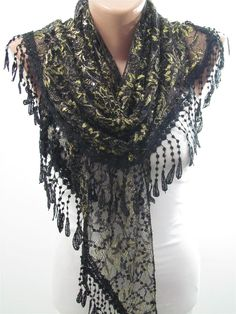 UNIQUE Lace Scarf Shawl Sparkle Scarf Black Scarf Golden Shimmer Cowl Scarf Black Wedding Women Fashion Accessory Christmas Gift For Her