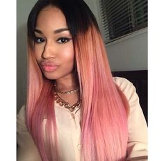 pink hair, black girl, black women, colorful hair, pastel hair - Looking for Hair Extensions to refresh your hair look instantly? KINGHAIR® only focus on premium quality remy clip in hair. Weave Hairstyles, Pretty Hairstyles, Straight Hairstyles, Summer Hairstyles, Pink Ombre Hair, Pastel Hair, Pastel Pink, Black Girl Pink Hair, Black Girls