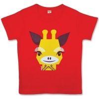 Coq en Pâte MIBO lasten t-paita. Aiheena punainen kirahvi. 100 % luomupuuvillaa. Myynnissä lastenverkkokauppa.fi. Valmistaja Coq en Pâte.