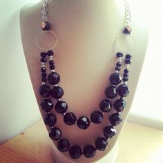 Double stranded black faceted crystal necklace/ by ILoveBeads247, $26.00