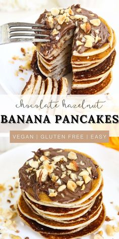 These delicious vegan banana pancakes made with coconut flour and topped with a homemade chocolate hazelnut spread are the perfect healthy breakfast idea! Make this easy recipe for your next brunch with friends or a morning with family. It is the best option that is completely plant based and gluten free! What's not to love about this healthy nutella alternative? Who could resist this decadent sweet treat!? Perfectly fluffy and moist goodness in every single bite! It will be a favorite for kids. Healthy Vegan Breakfast, Gluten Free Recipes For Breakfast, Savory Breakfast, Sweet Breakfast, Brunch Recipes, Dessert Recipes, Clean Breakfast, Brunch Ideas, Vegan Desserts