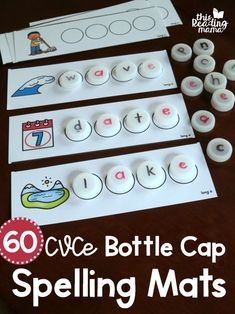 CVCe Bottle Cap Spelling Mats – This Reading Mama 60 FREE CVCe Bottle Cap Spelling Mats. Easy low prep creative activity for students learning CVCe words. Perfect for busy bags or a literacy center with first grade kids. Spelling Games, Spelling Activities, Literacy Activities, Learn Spelling, Reading Activities, Kindergarten Centers, Kindergarten Reading, Teaching Reading, Word Work Activities