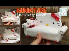 미니어쳐 헬로키티 소파 만들기 아이클레이로 인형의집 Hello kitty couch tutorial air dry clay dollhouse - YouTube